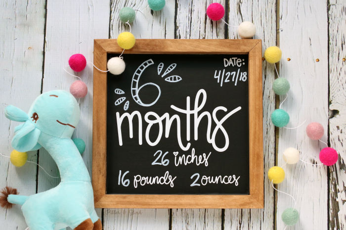 DIY Baby Monthly Chalkboard Photo Prop Free Hand-Lettered Cut File