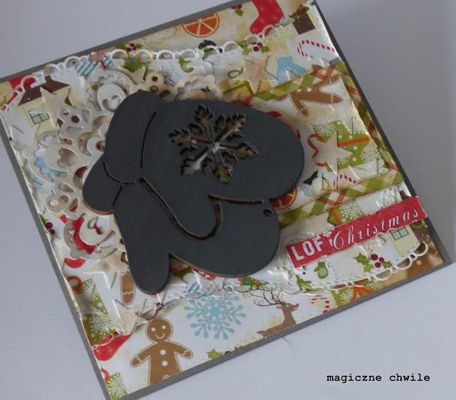kartka zimowa ozdobiona rękawiczkami ze sklejki