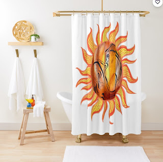 Watercolor Sun Paining by Irina Sztukowski on shower curtain