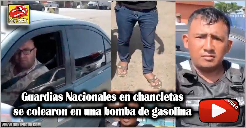 Guardias Nacionales en chancletas se colearon en una bomba de gasolina