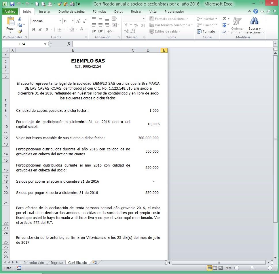 Extremamente ACCEX: [Modelo Excel] Certificado anual a socios y/o accionistas  GZ16
