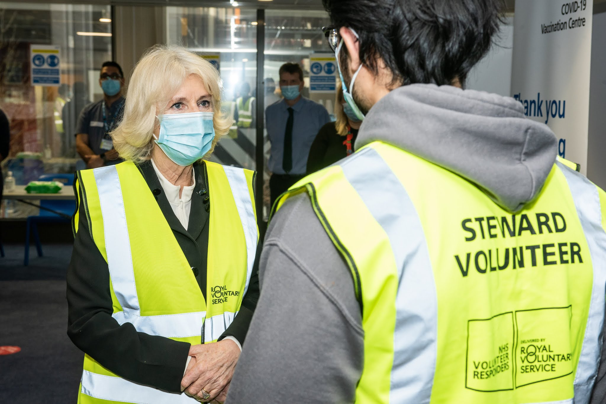 The Duchess of Cornwall visited London North West University Healthcare NHS Trustone at Wembley Park COVID-19 vaccination centres to meet with staff and volunteers.