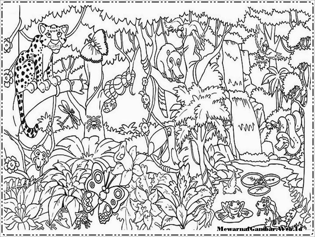 Gambar Sketsa Hutan Dan Hewan