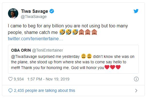 Singer Teni thanks Tiwa Savage for honoring her after standing up to greet her on a plane