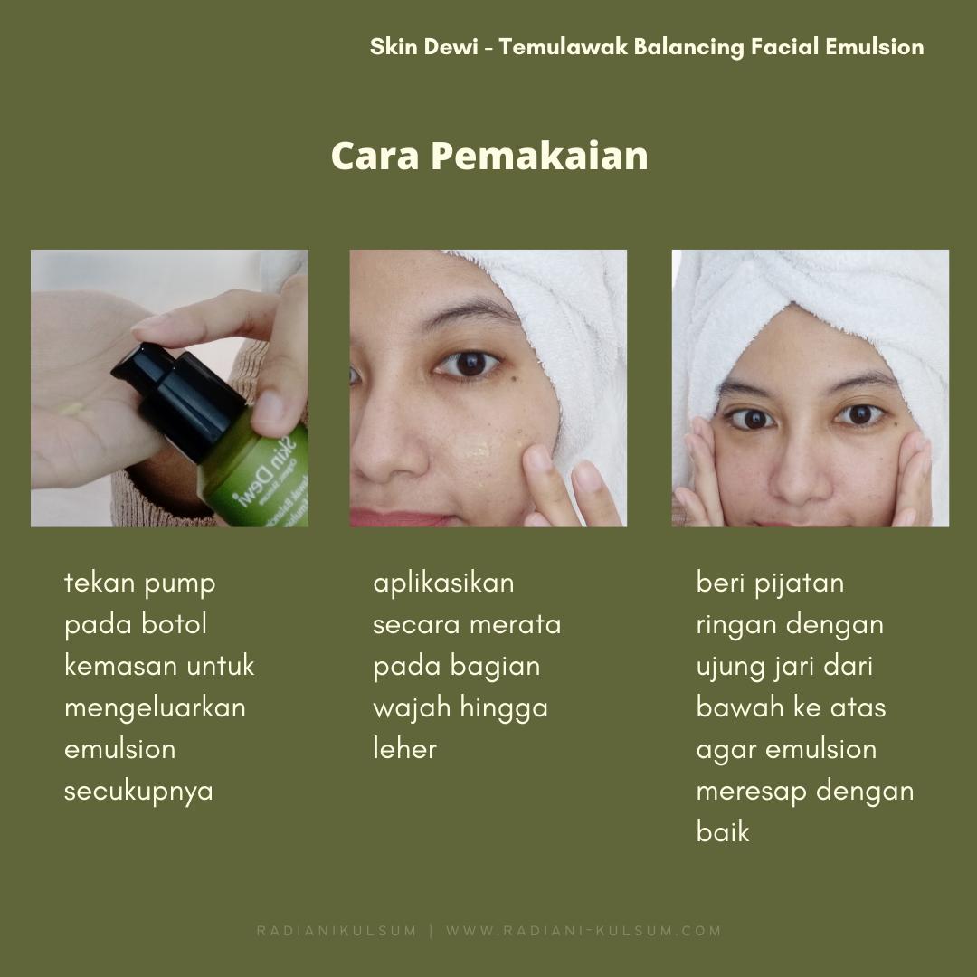 Cara Pemakaian Skin Dewi Temulawak Balancing Facial Emulsion
