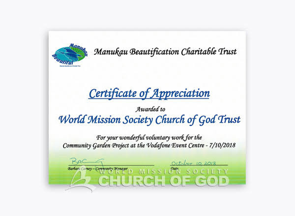 2018-10-10 New Zealand Fourth Auckland Manukau Woori Public Trust Environment Society Certificate of Appreciation