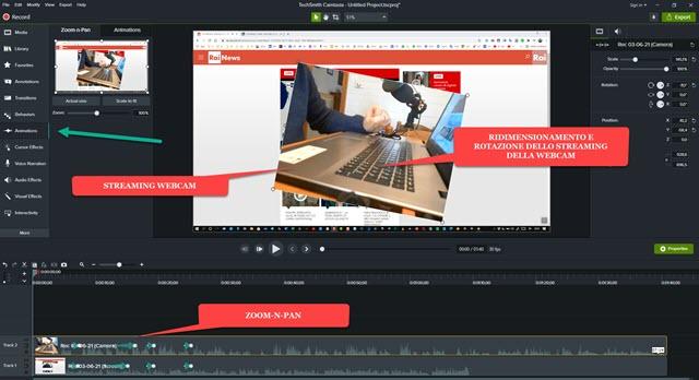 ridimensionamento rotazione e posizionamento webcam