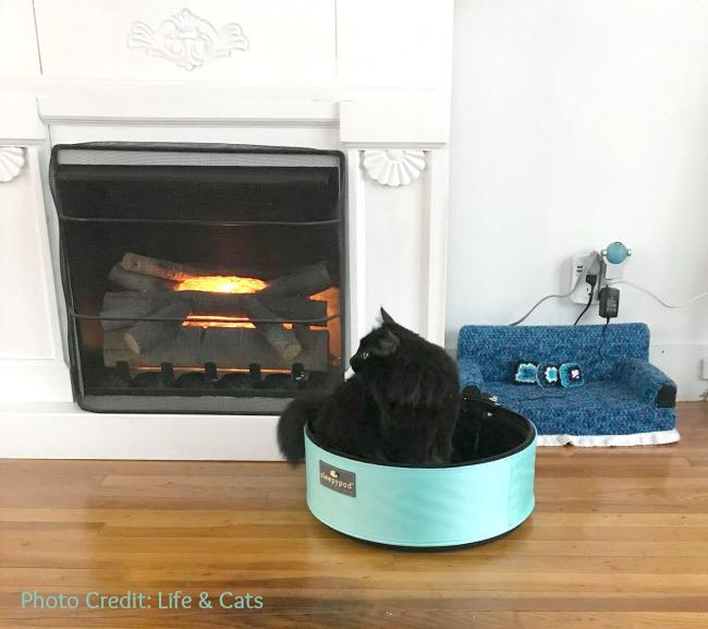 Black cat staying warm inside Sleepypod beside fireplace