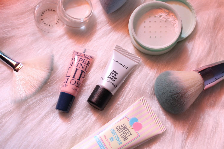 photo of pastel makeup flatlay