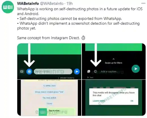 Whatsapp Testing 'Disappearing Photos' feature like Instagram