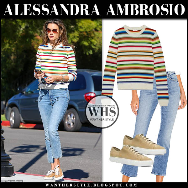 Alessandra Ambrosio in striped saint laurent sweater, cropped mother jeans and beige sneakers common projects. model street style december 16