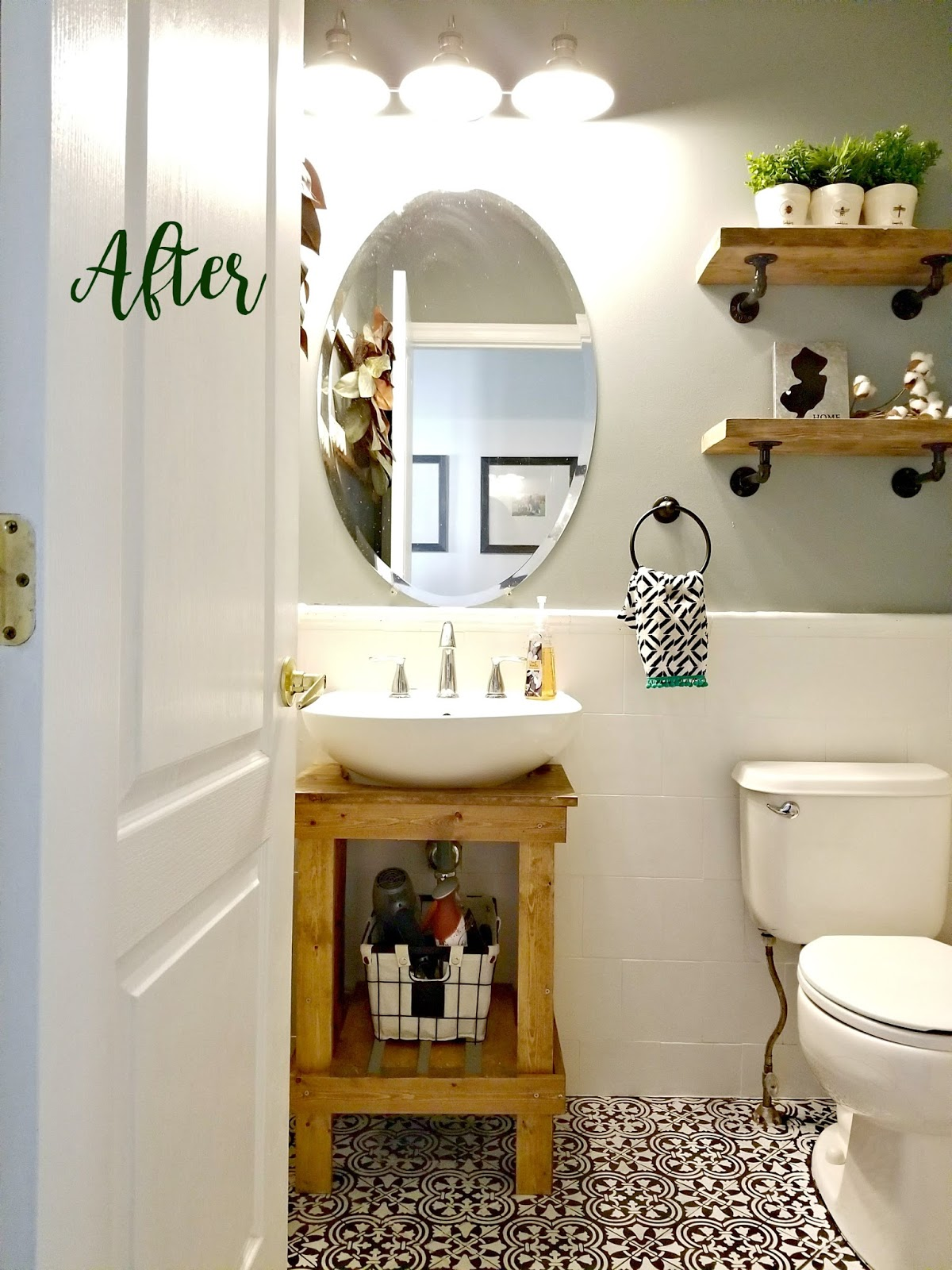 Cure 4 decor paint a tile floor a rustic powder room makeover excuse to try using a stencil on the floor like susanna did at livin the life of riley blog check out her awesome results and how she painted her tile dailygadgetfo Gallery
