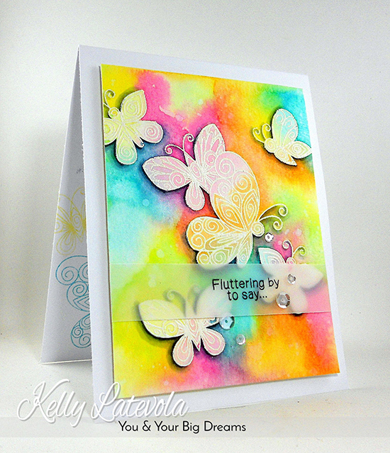 Watercolor Butterfly Card and Video by Kelly Latevola | Beautiful Wings stamp set by Newton's Nook Designs #newtonsnook #butterfly