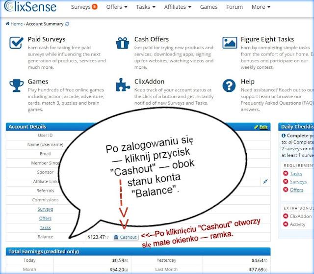 Jak wypłacić pieniądze z ClixSense?