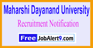 MDU Maharshi Dayanand University Recruitment Notification 2017 Last Date 20-06-2017