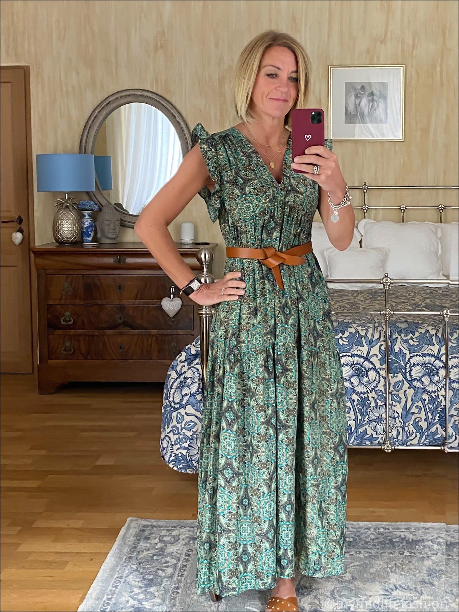 my midlife fashion, Isabel Marant lecce leather belt, paisley ruffle sleeve maxi dress, basalt studded sandals