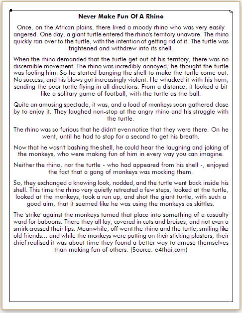 cerita tentang badak dalam bahasa inggris