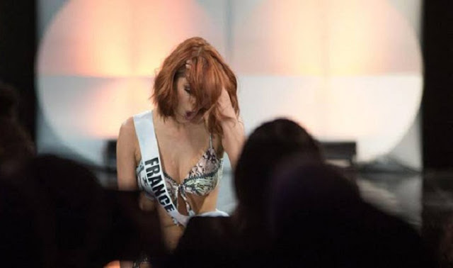 Wakil Indonesia Terpeleset, Miss France Jatuh Terjerembab di Hadapan Juri Miss Universe 2019
