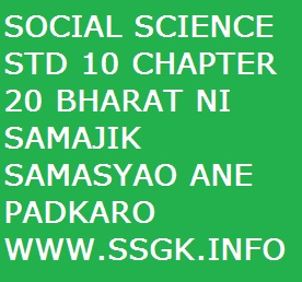 SOCIAL SCIENCE STD 10 CHAPTER 20 BHARAT NI SAMAJIK SAMASYAO ANE PADKARO