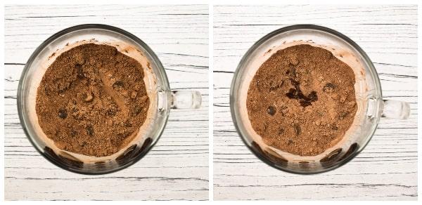 Making a chocolate brownie mug cake - step 3 - mixed & vanilla extract added