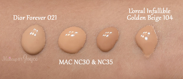 Mac Pro LongWear Nourishing Waterproof Foundation NC30 NC35 Swatch