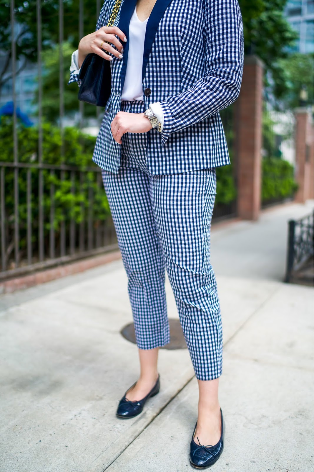 J.Crew Gingham Suit styled by popular New York style blogger, Covering the Bases