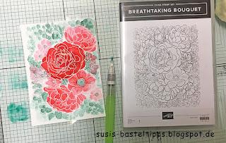 Aquarelltechnik mit Stampin Up Stempelset Breathtaking Bouquet direct to paper palette wassertankpinsel rosen blumen