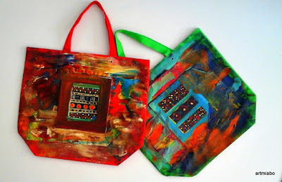 Abstract art on shopping bags