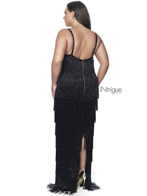Fringe Beaded Inrigue blus Plus size Prom Black color dress