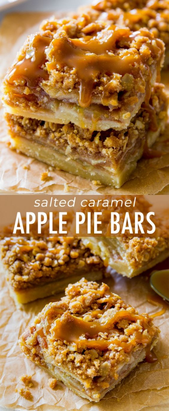 These Salted Caramel Apple Pie Bars are mind-blowing delicious! So much easier to make than an entire apple pie, too. Recipe