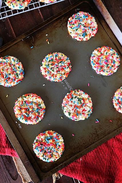 Sprinkle Sugar Cookies on Baking Sheet Image