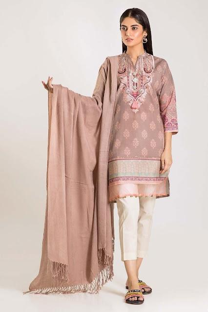 khaadi winter khaddar beige colour shirt shawl and unstitched dress
