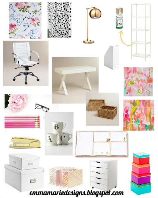 Gold & Pink (Kate Spade Inspired) Office Design Plan. Perfect for a glam and girly office! @ emmamariedesigns.blogspot.com