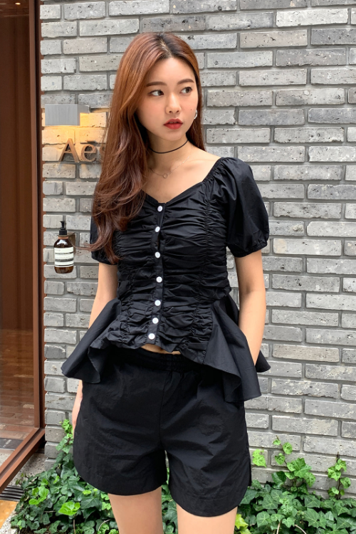 Button-Front Ruched Blouse