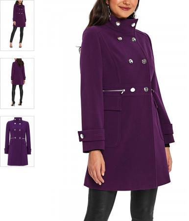 Palton mov din material gros, accesorizat cu buzunare si doua randuri de nasturi metalici in fata