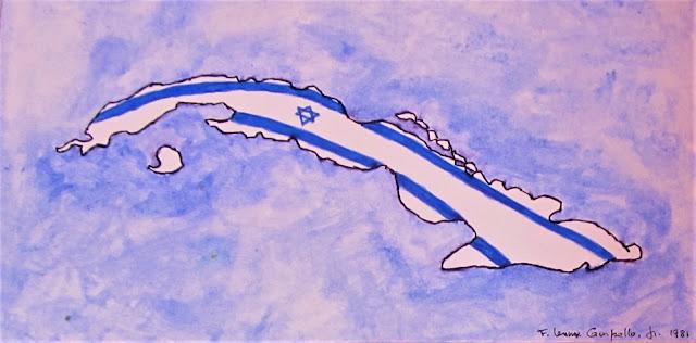"""Isla Judia (Jewish Island)"" 1981 Watercolor on paper by F. Lennox Campello"