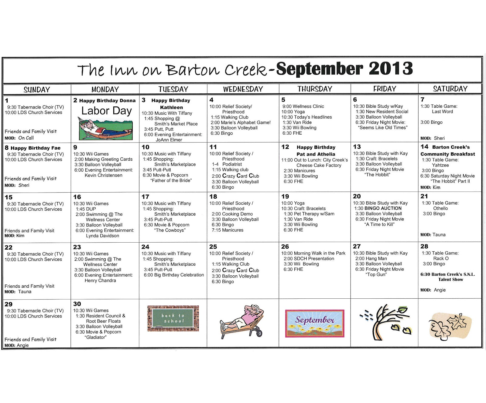 Barton Creek Assisted Living September Activities