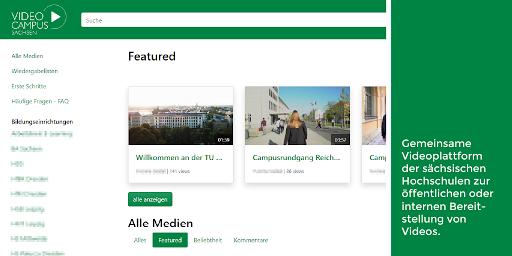 Screenshot der Startseite vom Videocampus Sachsen, der gemeinsamen Videoplattform der sächsischen Hochschulen.