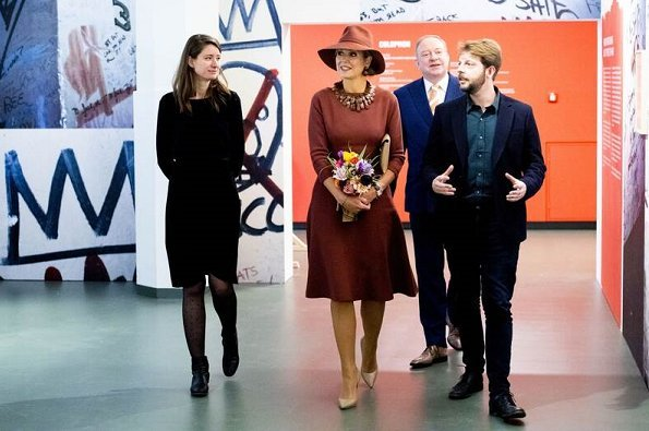 Queen Maxima attended the opening of the exhibition Basquiat – The artist and his New York scene at the Schunck museum in Heerlen