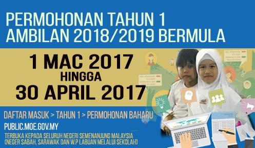Pendaftaran Murid Tahun 1 Sesi 2018/2019 Online