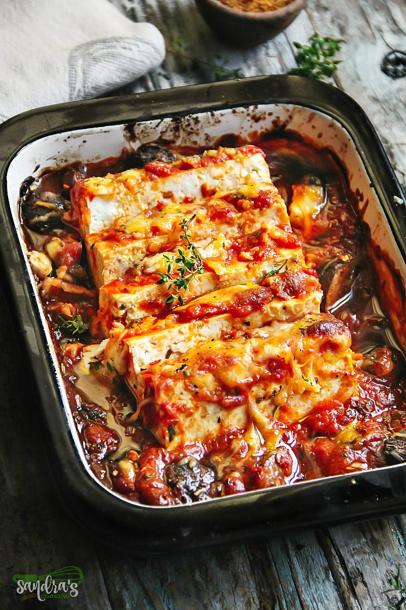 Baked Tofu with Mushrooms slow cooked in Roasted Pepper Sauce
