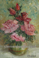 To Please You, 8 x 6 oil painting of red and pink roses in a vase, by Clemence St. Laurent
