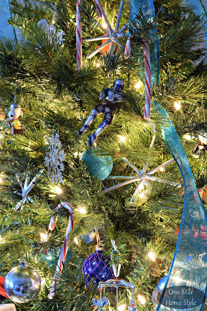Family Christmas Tree with Silver and Blue Accents | Christmas Home Tour - One Mile Home Style