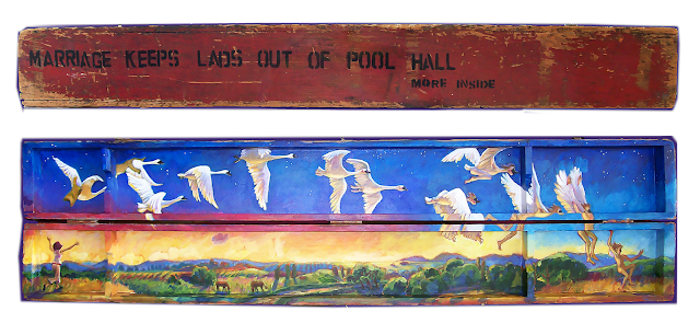 "outside of antique wooden pool cue box with stencilled lettering ""marriage keeps lads out of pool hall"""