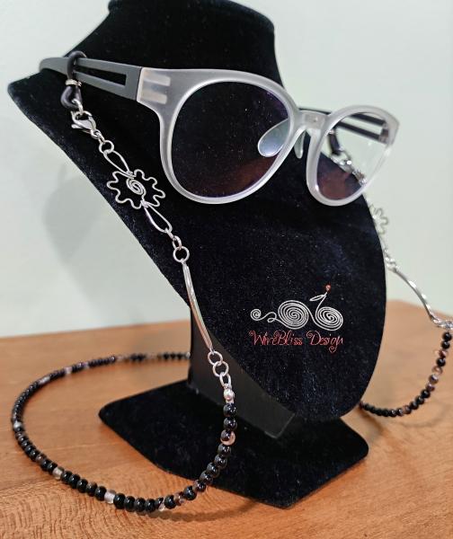 Black Stripe Agate Onyx Face Mask Eyeglasses Strap Side View