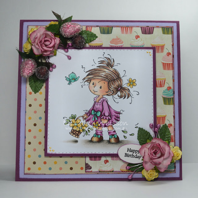 Whimsy Stamps, Peggy, copic, flowers, cupcakes, basket, Elizabeth Whisson, Alshandra, handmade card