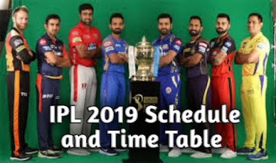 IPL 2019 Schedule and Time Table