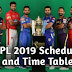 IPL 2019 Schedule, venue and Time Table