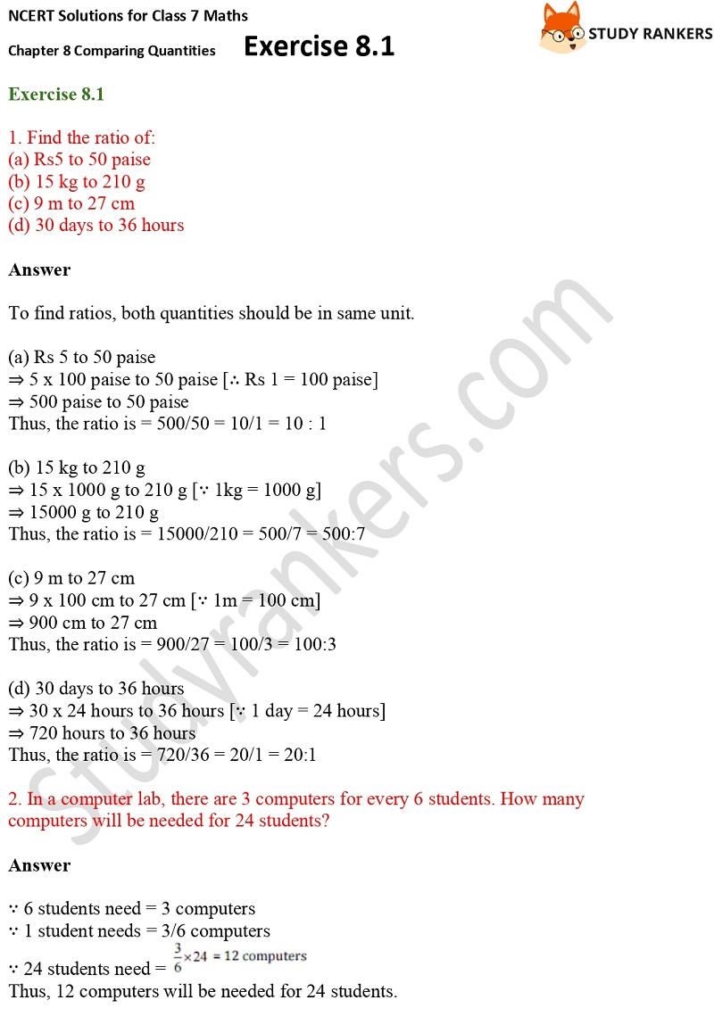 NCERT Solutions for Class 7 Maths Ch 8 Comparing Quantities Exercise 8.1 1