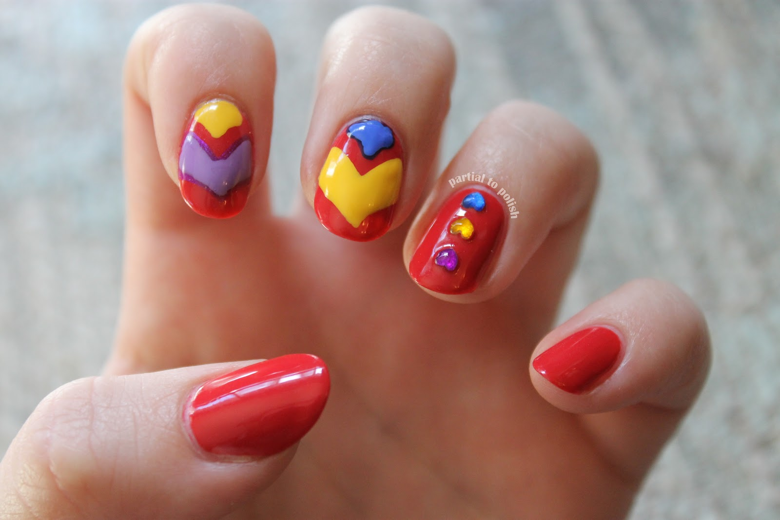 Partial to Polish: Red Nails with Rhinestones and Random Shapes!
